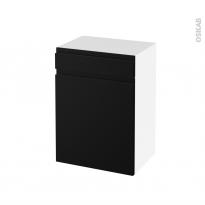Meuble de salle de bains - Rangement bas - IPOMA Noir mat - 1 porte 1 tiroir - L50 x H70 x P37 cm