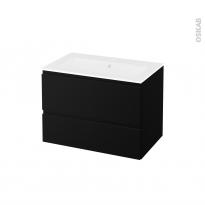 Meuble de salle de bains - Plan vasque NAJA - IPOMA Noir mat - 2 tiroirs - Côtés décors - L80,5 x H58,5 x P50,5 cm