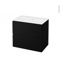 Meuble de salle de bains - Plan vasque NAJA - IPOMA Noir mat - 2 tiroirs - Côtés décors - L80,5 x H71,5 x P50,5 cm