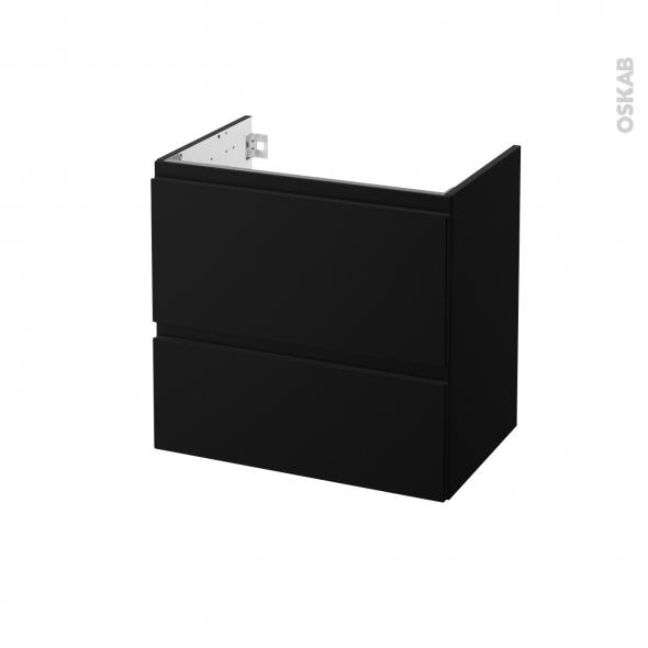 Meuble de salle de bains - Sous vasque - IPOMA Noir mat - 2 tiroirs - Côtés décors - L60 x H57 x P40 cm