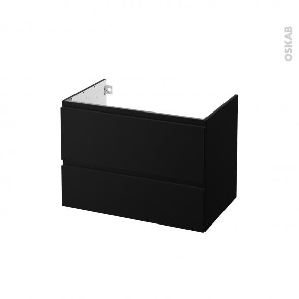 Meuble de salle de bains - Sous vasque - IPOMA Noir mat - 2 tiroirs - Côtés décors - L80 x H57 x P50 cm