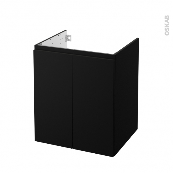 Meuble de salle de bains - Sous vasque - IPOMA Noir mat - 2 portes - Côtés décors - L60 x H70 x P50 cm