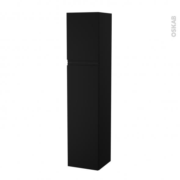 Colonne de salle de bains - 2 portes - IPOMA Noir mat - Côtés décors - Version A - L40 x H182 x P40 cm