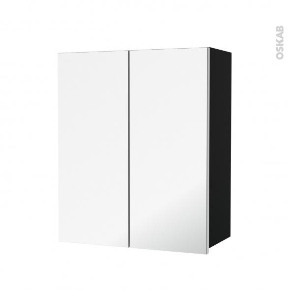 Armoire de salle de bains - Rangement haut - IPOMA Noir mat - 2 portes miroir - Côtés décors - L60 x H70  xP27 cm