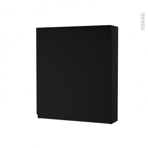 Armoire de toilette - Rangement haut - IPOMA Noir mat - 1 porte - Côtés décors - L60 x H70 x P17 cm
