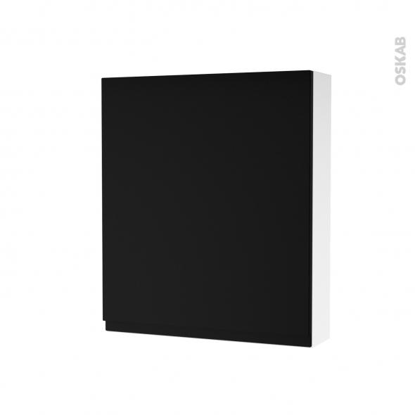 Armoire de toilette - Rangement haut - IPOMA Noir mat - 1 porte - Côtés blancs - L60 x H70 x P17 cm
