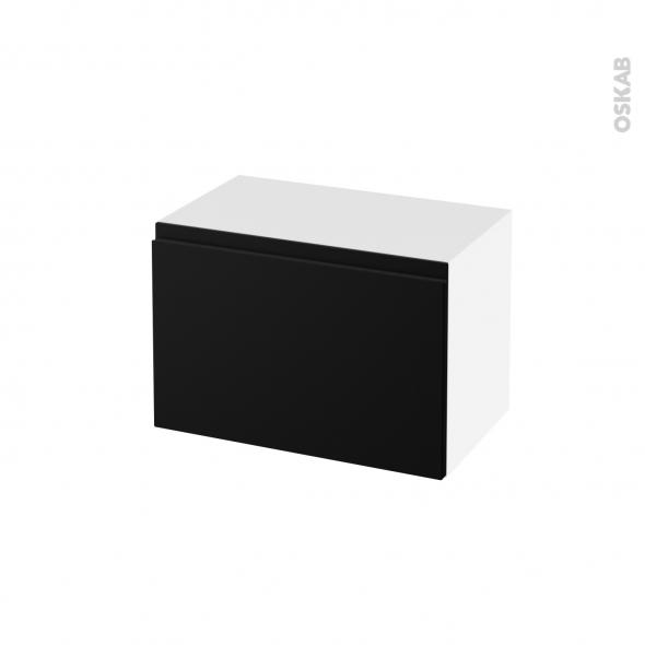 Meuble de salle de bains - Rangement bas - IPOMA Noir mat - 1 tiroir - L60 x H41 x P37 cm