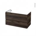 Meuble de salle de bains - Sous vasque - IPOMA Noyer - 2 tiroirs - Côtés décors - L100 x H57 x P50 cm