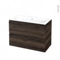 Meuble de salle de bains - Plan vasque NAJA - IPOMA Noyer - 2 tiroirs - Côtés décors - L100,5 x H71,5 x P50,5 cm