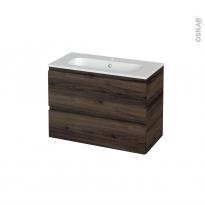 Meuble de salle de bains - Plan vasque REZO - IPOMA Noyer - 2 tiroirs - Côtés décors - L80.5 x H58.5 x P40.5 cm