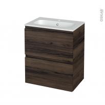 Meuble de salle de bains - Plan vasque REZO - IPOMA Noyer - 2 tiroirs - Côtés décors - L60,5 x H71,5 x P40,5 cm