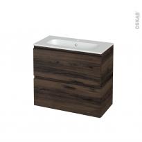 Meuble de salle de bains - Plan vasque REZO - IPOMA Noyer - 2 tiroirs - Côtés décors - L80.5 x H71.5 x P40.5 cm