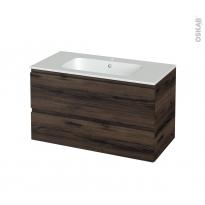 Meuble de salle de bains - Plan vasque REZO - IPOMA Noyer - 2 tiroirs - Côtés décors - L100,5 x H58,5 x P50,5 cm
