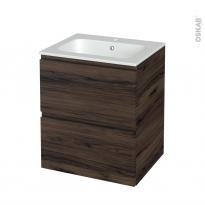 Meuble de salle de bains - Plan vasque REZO - IPOMA Noyer - 2 tiroirs - Côtés décors - L60,5 x H71,5 x P50,5 cm
