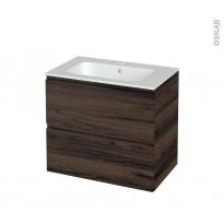 Meuble de salle de bains - Plan vasque REZO - IPOMA Noyer - 2 tiroirs - Côtés décors - L80.5 x H71.5 x P50.5 cm
