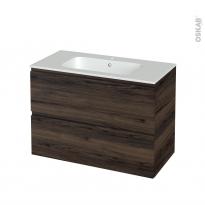 Meuble de salle de bains - Plan vasque REZO - IPOMA Noyer - 2 tiroirs - Côtés décors - L100,5 x H71,5 x P50,5 cm