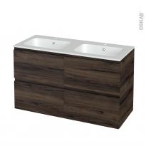 Meuble de salle de bains - Plan double vasque REZO - IPOMA Noyer - 4 tiroirs - Côtés décors - L120,5 x H71,5 x P50,5 cm