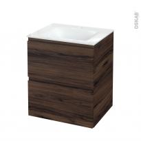 Meuble de salle de bains - Plan vasque VALA - IPOMA Noyer - 2 tiroirs - Côtés décors - L60,5 x H71,2 x P50,5 cm