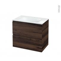 Meuble de salle de bains - Plan vasque VALA - IPOMA Noyer - 2 tiroirs - Côtés décors - L80.5 x H71.2 x P50.5 cm