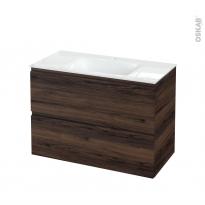Meuble de salle de bains - Plan vasque VALA - IPOMA Noyer - 2 tiroirs - Côtés décors - L100,5 x H71,2 x P50,5 cm