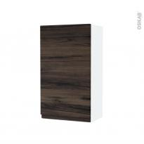 Armoire de salle de bains - Rangement haut - IPOMA Noyer - 1 porte - Côtés blancs - L40 x H70 x P27 cm