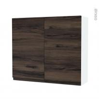 Armoire de salle de bains - Rangement haut - IPOMA Noyer - 2 portes - Côtés blancs - L80 x H70 x P27 cm