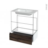 Tiroir sous meuble - Socle n°101 - IPOMA Noyer - pour meuble salle de bains - L80 x H26 x P45 cm