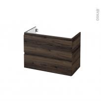 Meuble de salle de bains - Sous vasque - IPOMA Noyer - 2 tiroirs - Côtés décors - L80 x H57 x P40 cm