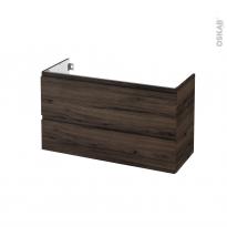 Meuble de salle de bains - Sous vasque - IPOMA Noyer - 2 tiroirs - Côtés décors - L100 x H57 x P40 cm