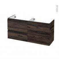 Meuble de salle de bains - Sous vasque double - IPOMA Noyer - 4 tiroirs - Côtés décors - L120 x H57 x P40 cm