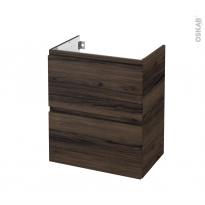 Meuble de salle de bains - Sous vasque - IPOMA Noyer - 2 tiroirs - Côtés décors - L60 x H70 x P40 cm