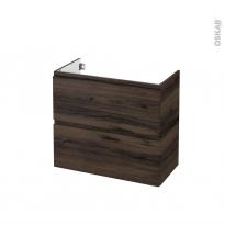 Meuble de salle de bains - Sous vasque - IPOMA Noyer - 2 tiroirs - Côtés décors - L80 x H70 x P40 cm