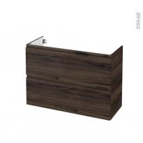Meuble de salle de bains - Sous vasque - IPOMA Noyer - 2 tiroirs - Côtés décors - L100 x H70 x P40 cm