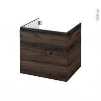 Meuble de salle de bains - Sous vasque - IPOMA Noyer - 1 porte - Côtés décors - L60 x H57 x P50 cm