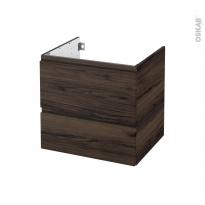 Meuble de salle de bains - Sous vasque - IPOMA Noyer - 2 tiroirs - Côtés décors - L60 x H57 x P50 cm