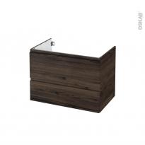 Meuble de salle de bains - Sous vasque - IPOMA Noyer - 2 tiroirs - Côtés décors - L80 x H57 x P50 cm