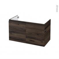 Meuble de salle de bains - Sous vasque - IPOMA Noyer - 2 portes - Côtés décors - L100 x H57 x P50 cm