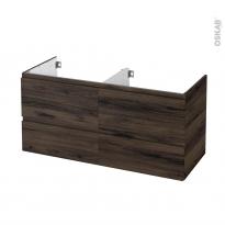 Meuble de salle de bains - Sous vasque double - IPOMA Noyer - 4 tiroirs - Côtés décors - L120 x H57 x P50 cm