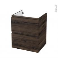 Meuble de salle de bains - Sous vasque - IPOMA Noyer - 2 tiroirs - Côtés décors - L60 x H70 x P50 cm