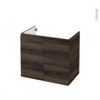 Meuble de salle de bains - Sous vasque - IPOMA Noyer - 2 portes - Côtés décors - L80 x H70 x P50 cm