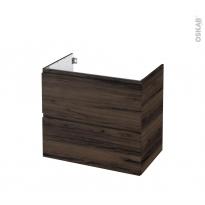 Meuble de salle de bains - Sous vasque - IPOMA Noyer - 2 tiroirs - Côtés décors - L80 x H70 x P50 cm