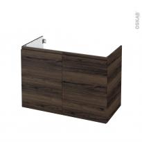 Meuble de salle de bains - Sous vasque - IPOMA Noyer - 2 portes - Côtés décors - L100 x H70 x P50 cm