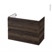 Meuble de salle de bains - Sous vasque - IPOMA Noyer - 2 tiroirs - Côtés décors - L100 x H70 x P50 cm