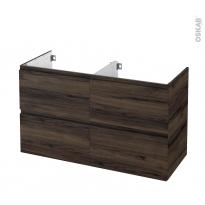 Meuble de salle de bains - Sous vasque double - IPOMA Noyer - 4 tiroirs - Côtés décors - L120 x H70 x P50 cm