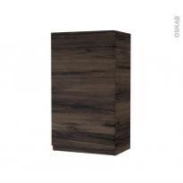 Armoire de salle de bains - Rangement haut - IPOMA Noyer - 1 porte - Côtés décors - L40 x H70 x P27 cm