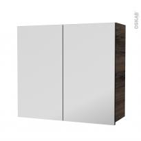 Armoire de salle de bains - Rangement haut - IPOMA Noyer - 2 portes miroir - Côtés décors - L80 x H70 x P27 cm