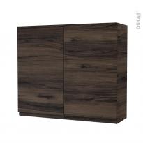 Armoire de salle de bains - Rangement haut - IPOMA Noyer - 2 portes - Côtés décors - L80 x H70 x P27 cm