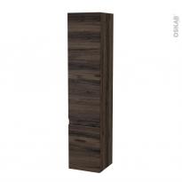 Colonne de salle de bains - 2 portes - IPOMA Noyer - Côtés décors - Version B - L40 x H182 x P40 cm
