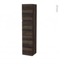 Colonne de salle de bains - 2 portes - IPOMA Noyer - Côtés décors - Version A - L40 x H182 x P40 cm
