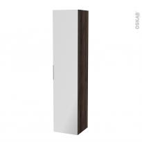 Colonne de salle de bains - 1 porte miroir - IPOMA Noyer - Côtés décors - L40 x H182 x P40 cm